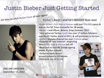 Publisher's Weekly Ad for Justin Bieber: Just Getting Started