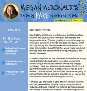Copy for Megan McDonald's Totally RARE Teachers' Club Newsletter